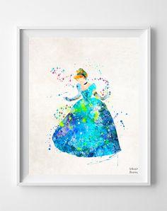 Cinderella Print Cinderella Watercolor Type 3 par InkistPrints