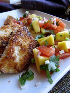 Coconut chicken with Mango Salsa