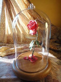 Must have...NOW. Beauty and the Beast Enchanted Rose Disney Fairy Tale Inspired LIFE SIZE  Replica