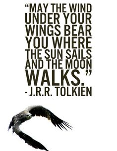 """May the wind under your wings bear you where the sun sails and the moon walks."" is the polite thing to say to eagles. From the Hobbit."
