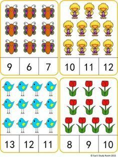 Spring Count and Clip Cards: Numbers by Sue's Study Room Preschool Writing, Numbers Preschool, Preschool Learning Activities, Learning Numbers, Math Numbers, Montessori Math, Kindergarten Math Worksheets, Math For Kids, Math Centers