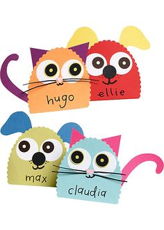 Are these not the cutest place cards for a little kid's birthday party?