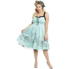 Disney The Little Mermaid Ariel Swing Dress Plus Size Hot Topic ($60) ❤ liked on Polyvore featuring dresses, plus size green dress, women plus size dresses, fit and flare cocktail dress, green dress and plus size evening dresses