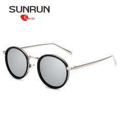 SUNRUN Polarized Sunglasses Women Round Vintage Sun Glasses Mirror oculos de sol feminino 17028