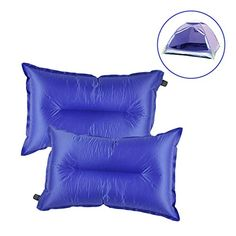 Inflatable Camping Pillow G2PLAY Set of 2 Packs Self Inflating Air Travel Pillows with Storage Pouch for Camping Hiking Traveling Backpacking Picnic Outdoor Sports Events Blue *** Want additional info? Click on the image.