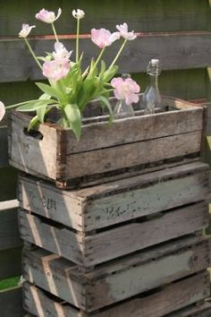 old crates in the garden