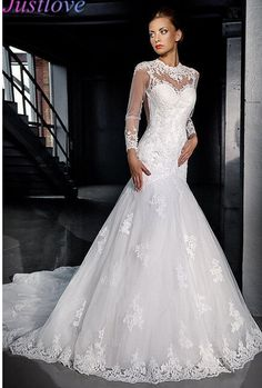 Long Sleeve Mermaid Wedding Dress with Chapel Train Bridal Gown Lace Appliques