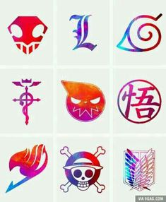 Anime symbols, Bleach, Death Note, Naruto, Fullmetal Alchemist, Soul Eater, Dragonball Z, Fairy Tail, One Piece, Attack on Titan, crossover; Anime