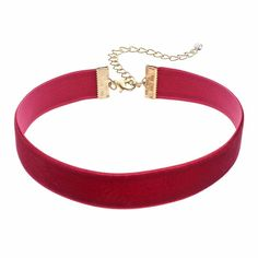 Velvet Ribbon Choker Necklace, Women's, Red