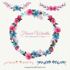 Decorative watercolor floral wreath Free Vector