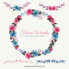 aguarela decorativa coroa de flores Vetor grátis