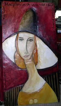 In homage to Modigliani.....  her neck and face come out to a looking glass..... luonsart.com Modigliani, Illustration Art, Illustrations, Abstract Faces, Expressionism, Art Ideas, Angels, Projects To Try, My Arts