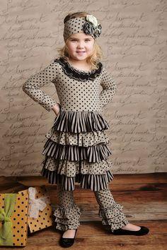 Petunia dress - sage black dot