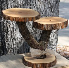 "Rustic Cake Cupcake Stand, 2 tier, Serving Platter, Dessert or Candy Bar, 15"" tall, 20"" wide, tree slices and branch, Texas, southern, barn by tricia16designs on Etsy"