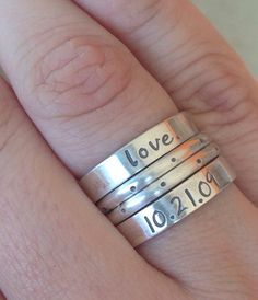 Sterling silver LOVE stack rings personalized anniversary custom date stamped engraved committed handmade artisan jewelry etsy on Etsy, $59.00