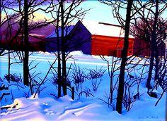 "Kathleen Kolb (American, born 1954)  ""Evening Barn"""