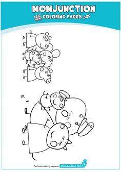 Peppa Pig at Beach Coloring Page Peppa Pig Coloring Pages, Beach Coloring Pages, Cartoon Coloring Pages, Peppa Pig Swimming Pool, Peppa Pig Drawing, Pig Party, Diy Home Crafts, Pig Family, Daddy