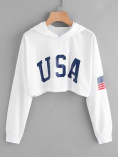 SheIn offers American Flag Print Crop Hoodie & more to fit your fashionable needs. SheIn offers American Flag Print Crop Hoodie & more to fit your fashionable needs. Girls Fashion Clothes, Teen Fashion Outfits, Outfits For Teens, Summer Outfits, Fashion Dresses, Fashion Ideas, Summer Dresses, Fashion Trends, Crop Top Outfits