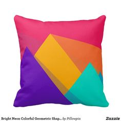 Bright Neon Colorful Geometric Shapes Pillow