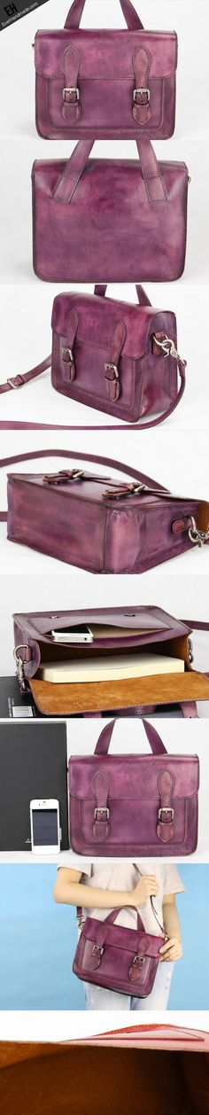 Handmade purple vintage leather Satchel Bag crossbody Shoulder Bag for | EverHandmade