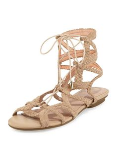 Fynn+Braided+Lace-Up+Flat+Sandal,+Buff+by+Joie+at+Neiman+Marcus.