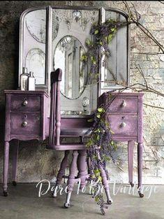 Vintage Vanity - Shabby Chic Vanity - Vintage Makeup Vanity - Dressing Table - P. - - Vintage Vanity - Shabby Chic Vanity - Vintage Makeup Vanity - Dressing Table - Purple - Painted Vanity - Rustic Elegance by DareToBeVintage. Style Shabby Chic, Shabby Chic Vanity, Shabby Chic Living Room, Rustic Shabby Chic, Shabby Chic Homes, Shabby Chic Furniture, Vintage Furniture, Rustic Furniture, Refurbished Furniture