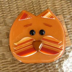 I just love making these guys, so much fun. Kitty Cat Fused Glass Wall Art Golden Brown Iridescent by GlassCat, $35.00