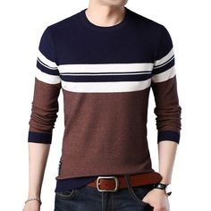 Mens Pullover Autumn Wool Slim Fit Knitted Sweater O-Neck Striped Mens Brand Clothing Casual Pull Homme Male Sweaters, Casual Sweaters, Pullover Sweaters, Mens Pullover, Mens Striped Sweater, Men Sweater, Casual Fall, Men Casual, Business Outfits