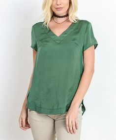 Green High-Low V-Neck Tee