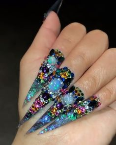 Bling Acrylic Nails, Bright Summer Acrylic Nails, Best Acrylic Nails, Glam Nails, Rhinestone Nails, Bling Nails, Jewel Nails, Bling Nail Art, Stiletto Nails