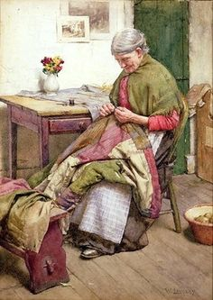 'The Old Quilt' - by artist Walter Langley - (sewing, quilting, needlework, mending) Crazy Quilting, Hand Quilting, Images Vintage, Vintage Art, Old Quilts, Sewing Art, Quilt Making, Vintage Sewing, Quilt Patterns