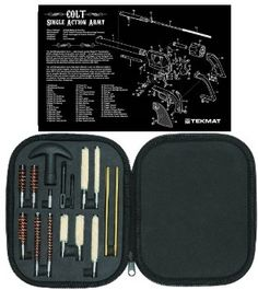 Ultimate Arms Gear Gunsmith & Armorer's Cleaning Work Bench Gun Mat Colt Single Action Army Revolver + Professional Tactical Cleaning Tube Chamber Barrel Care Supplies Kit Deluxe 17 pc Handgun Pistol Cleaning Kit in Compact Molded Field Carry Case for .22 / .357 / .38 / 9mm / .44 / .45 Caliber Brushes, Swab, Slotted Tips and Patches