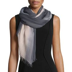 Armani Collezioni Plisse Voile Ombre Stole ($210) ❤ liked on Polyvore featuring accessories, scarves, antracite, wrap shawl, ombre scarves and armani collezioni
