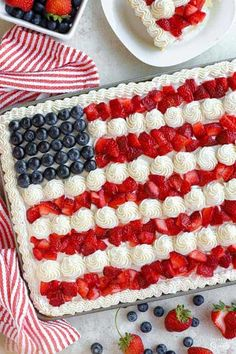 A fun and festive homemade American Flag Cake! Fluffy vanilla cake, topped with creamy vanilla frosting, finished with fresh berries. Homemade Vanilla Frosting, Vanilla Buttercream, Buttercream Frosting, American Flag Cookies, American Flag Cake, Berry Trifle, Cake Toppings, Summer Desserts, Sweet Treats