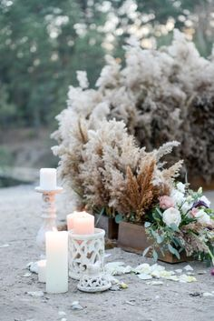 Open air wedding photo zone  nature+candles+reed