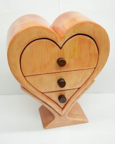 Handmade Wood bandsaw Heart Box with stand and by HuskyWoodWorking, $43.95