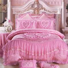 4/6/8 pcs Oriental lace red pink luxury bedding set queen King size wedding bed cotton bed sheets duvet cover set bedspreads