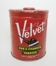 Vintage Velvet Pipe & Cigarette Tobacco 14 oz. Round Collectible Metal Tin  Made in U.S.A from the best Sun - Ripened Kentucky Burley Tobacco  VATC875 ....   For Sale