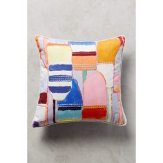 Anthropologie Southport Embroidered Pillow ($78) via Polyvore featuring home, home decor, throw pillows, multi, embroidered throw pillows, anthropologie and anthropologie home decor