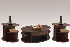 Metropolian Contemporary Dark Cherry Birch MDF 3pc Coffee Table Set