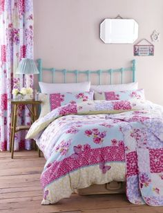 Catherine Lansfield Gypsy Patchwork Floral  Butterfly Duvet Set Cotton Blend Easy Care Bed Linen King * Click image for more details.