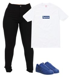 """""""Untitled #139"""" by outfits2dope ❤ liked on Polyvore featuring Supreme and adidas"""