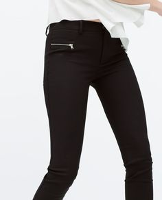 SEAMED TROUSERS WITH ZIPS-View all-Trousers-WOMAN   ZARA United States
