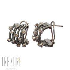 Champagne Earrings Modern Design Oxidised Black Sterling Silver CZ - Trezoro Jewellery Online Store