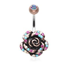 Vintage Boho Gleam Rose Belly Button Ring Navel Ring Body Jewelry - BodyDazzle