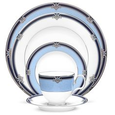 Springbrook from Noritake. Navy blue, Silver, & pale blue bands.