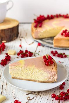 Red Currant White Chocolate Cheesecake Baked zebra cheesecake made with red currant layer and white chocolate layer White Chocolate Cheesecake, Melting White Chocolate, Delicious Fruit, Yummy Food, Delicious Recipes, Easy Recipes, Best Dessert Recipes, Cheesecake Recipes, Summer Desserts