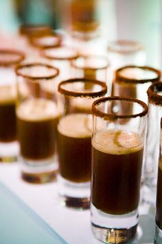 Espresso shooters with a cocoa powder rim will keep your guests energized for a long night of fun.