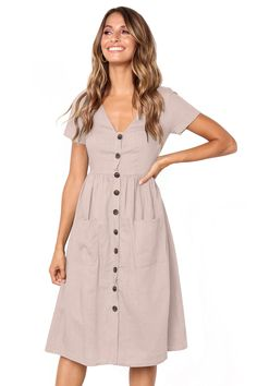 e26681236a488 Cheap Pink Stylish Button Front Midi Dress with Pockets only US  10.33