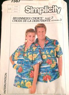 1980s Simpllicity 7567 Easy MENS WOMENS Unisex SHIRT Back Pleated vintage sewing Pattern by mbchills
